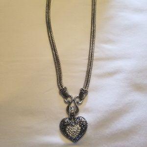 Lia Sophia Love Dust Cut Crystals Heart Necklace